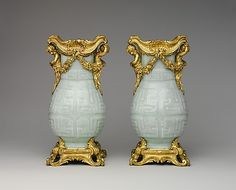 Pair of vases mounts ca. 1760–70, porcelain early 18th century Chinese with French mounts