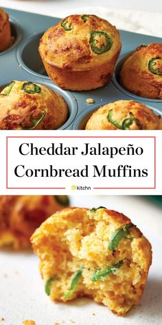 Cheddar- and jalapeño-flecked cornbread muffins are all too easy to love. Jalapeno Cornbread Muffins, Savory Muffins, Corn Muffins, Best Cornbread Recipe For Chili, Cornmeal Muffins Recipe, Healthy Cornbread, Jiffy Cornbread Recipes, Cornmeal Recipes, Gourmet