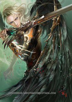 20101128 by *feimo on deviantART, drawn, cute guy, warrior, angel, fantasy, blonde hair, blue eyes, black wings