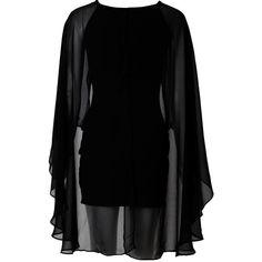 AX Paris Cape Dress Black (24 AUD) ❤ liked on Polyvore featuring dresses, short dresses, vestidos, black, short sleeve cocktail dresses, short sleeve dress, short chiffon dress and chiffon dresses