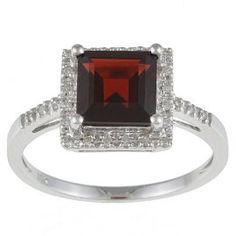 10k White Gold Square Garnet and Diamond Ring (1/10 TDW)