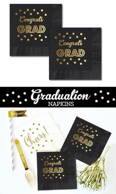 Graduation Napkins will complete your 2016 grad party decor! Black and Gold Graduation Party Napkins with Congrats GRAD printed in metallic gold foil - by Mod Party