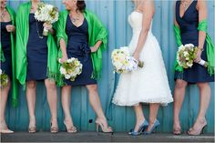 navy blue wedding dresses with bright green wraps