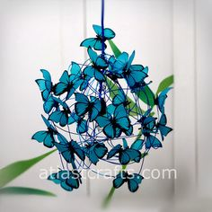 """MatchDelacroix Lamp with turquoise butterflies """"Feeling Blue"""""""