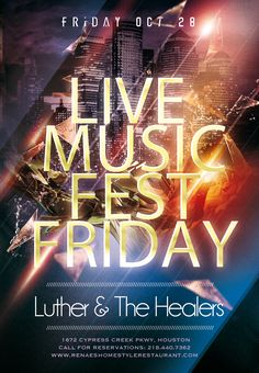 Live Music Fest Friday featuring live music by Luther & The Healers #LiveMusic #SoulFood #ItsWhatWeDo