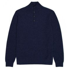 SUNSPEL.This beautifully crafted knit is made from a premium cashmere with an exceptionally soft and luxurious feel. The fine rib construction emphasises the navy mélange colour while the button neck allows for easy layering over one of our crew neck t-shirts. Ju