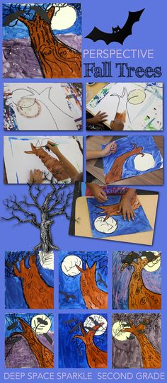 How to draw a Fall Tree: Easy Perspective Painting for Kids