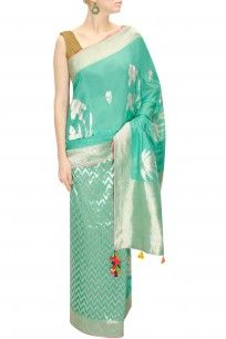 Turquoise green striped handwoven sari with blouse piece