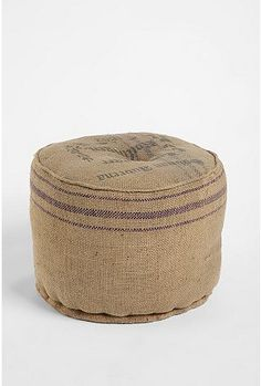 jute printed pouf from UO Coffee Bean Bags, Coffee Sacks, Burlap Ottoman, Pouf Ottoman, Burlap Sacks, Hessian, Burlap Crafts, Grain Sack, My New Room