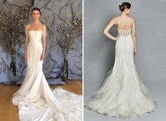 Designers were taking the inside elements of bridal gown structures and exposing them this season. Inspired by the corset, boning was exposed and fitted bodices made an appearance. This look makes adds a chic touch to any style of silhouette. (Left: Austin Scarlett – shop locally Julian Gold Bridal, Right: Kelly Faetanini – shop locally at Blush Bridal Lounge)!