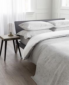 Lavato Caspian Grey Neutral Bedding, Grey Bedding, Modern Decorative Accents, White Coverlet, Embroidered Cushions, Fine Linens, Make Your Bed, Decorative Cushions, Neutral Colors