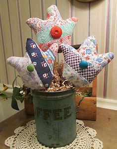 Prim Gathering of Ornies - Spring TULIPS made from ANTIQUE QUILT - Feedsacks