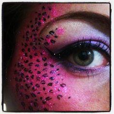 Leopard print glitter eye make up