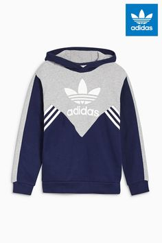 Buy adidas Originals Navy Colourblock Trefoil Pullover Hoody from the Next  UK online shop df45229d00