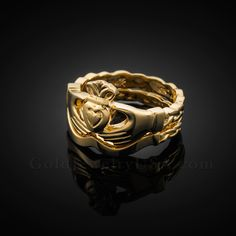 Gold Claddagh Engagement Ring with Trinity Band