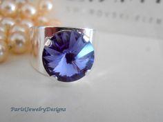 Tanzanite Swarovski Ring Band Ring Blue by ParisiJewelryDesigns Swarovski Crystal Rings, Crystal Jewelry, Blue Rings, Blue Crystals, Plate Sets, Tanzania, Statement Rings, Fashion Rings, Helpful Hints