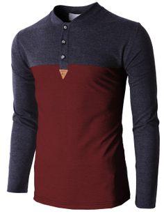 Doublju Men's Henley Neck Shirts Color Combination Half And Half (KMTTL0167) #doublju