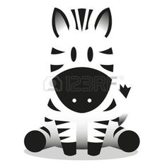 simple face drawings: A vector cute cartoon baby zebra icon Illustration