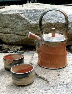 Malcolm Davis Teapot and Cups (Porcelain, Shino Glaze)