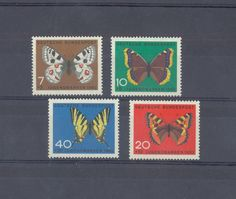 EAST GERMANY 1962 DDR SEMI POSTAL STAMPS BUTTERFLIES 4 values - MNH