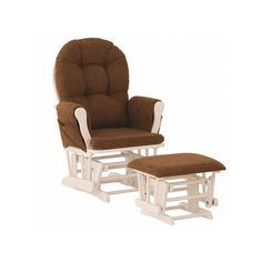 Stork Craft Hoop Custom Glider Chair and Ottoman Set, Brown