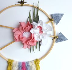 Floral arrow wall art, baby arrow mobile, boho wall hanging, felt flower wreath, tribal flower nursery, baby shower dreamcatcher, hoop art by mellsva on Etsy