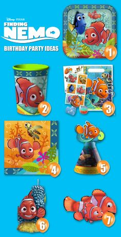 Check out these ideas for a #FindingNemo Birthday Party.  For additional #FindingNemopartysupplies, head on over to our website: http://www.discountpartysupplies.com/girl-party-supplies/finding-nemo-party-supplies