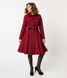 20 Womens Joanna Hope Fit And Flare Coat Red