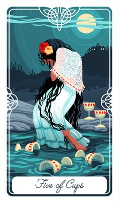 The Five of Cups card for my #FairytaleTarot deck As always, if your interested in a deck, please sign up here for crowdfunding info http://goo.gl/forms/FIssymo5JMZkWjyf2 The Five of Cups is about being so overcome with depression and other negative...