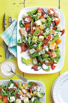 BLT Salad with Buttermilk-Parmesan Dressing and Buttery Croutons | MyRecipes