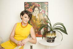 Vintage dress, painting and Saarinen tulip table!