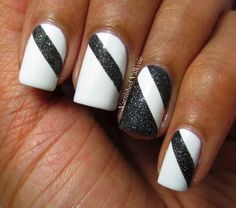 Varnished Valkyrie: Black and White Nails