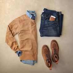 Outfit grid - Browns and blues - Men's style men's outfits men's clothing Mode Outfits, Casual Outfits, Men Casual, Fashion Outfits, Fashion Trends, Fashion Men, Smart Casual, Mens Fall Outfits, Fashion Check