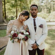 This groom's wickedly cool style is off the charts! Have you seen a cream + burgundy suit before? And her embellished dress!! See all the details from this rustic chic Texas wedding #onGWS {link in bio!}photog: @jordanvoth   dress: @misshayleypaige   boutique: @nowandforeverbridalbtq
