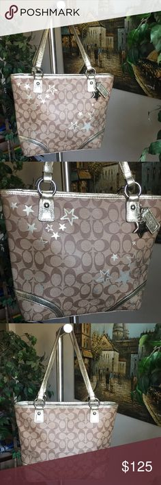 "Coach Heritage Star Print Tote Bag M1176-F18853 Coach M1176-F18853 100% authentic and looks like brand new Excellent used condition Coach Bag.  NO TEAR, WEAR, STAIN or ANY KIND OF THINGS ONLY USED ONCE OR TWICE! PET FREE SMOKE FREE SHOES FREE HOME Features Signature product Signature coated canvas with metallic leather trim  Inside zip, cell phone and multifunction pockets Zip-top closure, fabric lining  Color SV/Multi-Color  Approximate Measurements: ~10.75"" x ~10.5"" x ~3.25""  Handles with…"