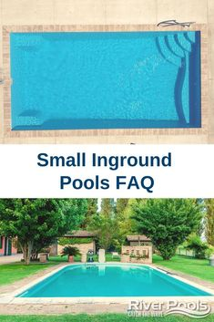 Thinking about getting a small swimming pool? Still have questions? In this article, we answer the top small  inground pool questions. Small Inground Swimming Pools, Swimming Pool Heaters, Inground Pool Designs, Gunite Pool, Small Backyard Pools, Natural Swimming Pools, Small Pools, Lap Pools, Natural Pools