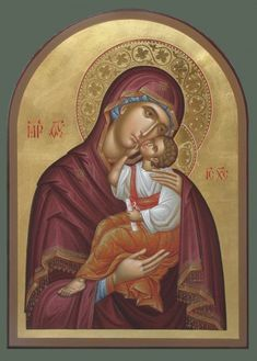 Sweet Kissing Icon of the Theotokos / Embossing used in conjunction w red border on halo. Religious Pictures, Religious Icons, Religious Art, Byzantine Icons, Byzantine Art, Gold Leaf Art, Gold Art, Madonna, Religious Paintings