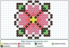 flor EN HAMA BEADS PATRON Beaded Cross Stitch, Cross Stitch Patterns, Perler Beads, Hamma Beads Ideas, Pixel Beads, String Art, Pixel Art, Pastel, Bullet Journal