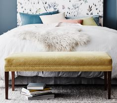 Our ADELE footstool is the perfect spot to put your feet up after a long day. As practical as it is beautiful, this piece adds a touch of luxury to any bedroom Dream Bedroom, Home Bedroom, Master Bedrooms, Velvet Cushions, Upholstered Beds, Bed Styling, Extra Seating, Bedroom Styles, Queen Beds