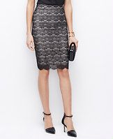 """Beaded Lace Pencil Skirt - Amazing lace: with exquisitely scalloped lace and shimmery beading, this couture-worthy piece is a true winter wonder. Hidden side zipper with hook-and-eye closure. Lined. 24"""" long."""