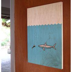 Fab.com | Shark Love  [Wood as the canvas]