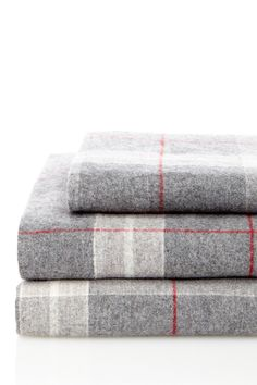 Flannel Sheet Set - Grey/Red Plaid Pattern | HauteLook twin $39 (Eric's bunk beds in winter?)