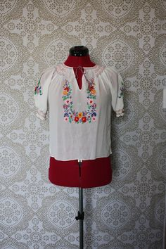 Vintage 1940's Floral Embroidered White Peasant Blouse by pursuingandie, $80.00