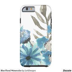 Blue Floral Watercolor Tough iPhone 6 Case