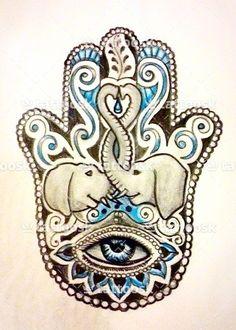 Hamsa Hand Tattoo ❥❥❥ https://tattoosk.com/hamsa-palm-tattoo