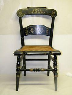 Vintage TELL CITY FURNITURE Hardrock Maple Chair Black PRIMITIVE DECORATIVE Rare