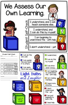 Student Self-Assessment Tools! Posters, Rubric, Cards for student use, and notebook page - Light Bulbs and Laughter Blog. TpT $