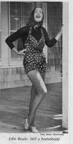 Little Edie Beale, photographed outside Grey Gardens in the 1970's. Cousin of Jacqueline Bouvier Kennedy
