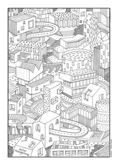 Hello, i'm a 30 year-old architect & illustrator, working in Paris. Contact me at thibaut. Landscape Sketch, Art Plastique, Drawing Reference, Canson, Diagram, Sketches, Animation, Map, Dire