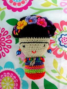 Frida Kahlo Amigurumi Frida Mini muñeca